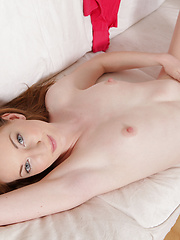 Sweet ginger girl touching her wet clit