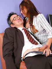 Katty's cunt got wet when she was at the lesson of a new teacher.