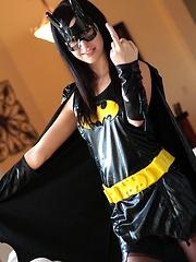 If anybody can turn Batman and Robin straight it's superslut Catie Minx as Batgirl