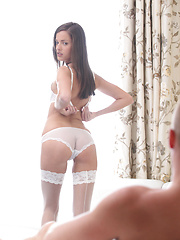 Silvie Luca strips out of her sheer bra and thong and masturbates for her lover before giving him a long wet blow job