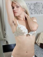 Hirsute porn model Selena enjoys her lingerie